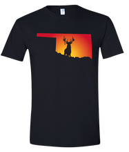 Load image into Gallery viewer, Short Sleeve T-Shirt Oklahoma Black Whitetail Deer Vibrant Design High Quality Tight Knit Ring Spun Low Maintenance Cotton Printed With The Newest Available Color Transfer Technology