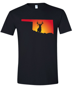 Short Sleeve T-Shirt Oklahoma Black Whitetail Deer Vibrant Design High Quality Tight Knit Ring Spun Low Maintenance Cotton Printed With The Newest Available Color Transfer Technology
