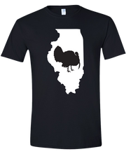 Load image into Gallery viewer, Short Sleeve T-Shirt Illinois Black Turkey Vibrant Design High Quality Tight Knit Ring Spun Low Maintenance Cotton Printed With The Newest Available Color Transfer Technology