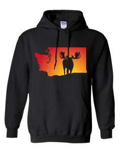 Pullover Hooded Sweatshirt Washington Black Moose Vibrant Design High Quality Tight Knit Ring Spun Low Maintenance Cotton Printed With The Newest Available Color Transfer Technology