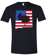 Load image into Gallery viewer, Short Sleeve T-Shirt New Mexico Black Turkey Vibrant Design High Quality Tight Knit Ring Spun Low Maintenance Cotton Printed With The Newest Available Color Transfer Technology