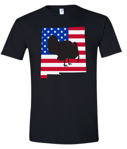 Short Sleeve T-Shirt New Mexico Black Turkey Vibrant Design High Quality Tight Knit Ring Spun Low Maintenance Cotton Printed With The Newest Available Color Transfer Technology