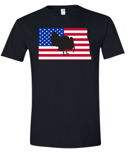 Short Sleeve T-Shirt North Dakota Black Turkey Vibrant Design High Quality Tight Knit Ring Spun Low Maintenance Cotton Printed With The Newest Available Color Transfer Technology