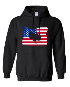 Pullover Hooded Sweatshirt Oregon Black Turkey Vibrant Design High Quality Tight Knit Ring Spun Low Maintenance Cotton Printed With The Newest Available Color Transfer Technology