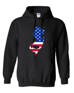 Pullover Hooded Sweatshirt New Jersey Black Large Mouth Bass Vibrant Design High Quality Tight Knit Ring Spun Low Maintenance Cotton Printed With The Newest Available Color Transfer Technology