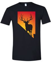 Load image into Gallery viewer, Short Sleeve T-Shirt Nevada Black Elk Vibrant Design High Quality Tight Knit Ring Spun Low Maintenance Cotton Printed With The Newest Available Color Transfer Technology