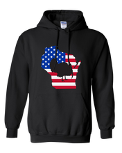 Load image into Gallery viewer, Pullover Hooded Sweatshirt Wisconsin Black Turkey Vibrant Design High Quality Tight Knit Ring Spun Low Maintenance Cotton Printed With The Newest Available Color Transfer Technology