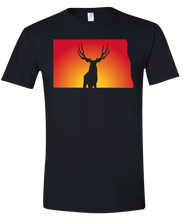 Load image into Gallery viewer, Short Sleeve T-Shirt North Dakota Black Mule Deer Vibrant Design High Quality Tight Knit Ring Spun Low Maintenance Cotton Printed With The Newest Available Color Transfer Technology