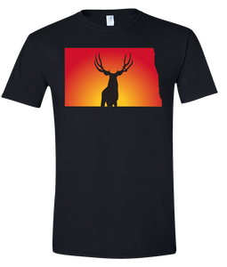 Short Sleeve T-Shirt North Dakota Black Mule Deer Vibrant Design High Quality Tight Knit Ring Spun Low Maintenance Cotton Printed With The Newest Available Color Transfer Technology
