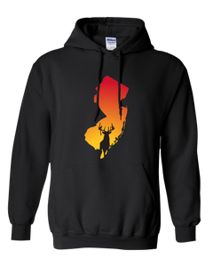 Pullover Hooded Sweatshirt New Jersey Black Whitetail Deer Vibrant Design High Quality Tight Knit Ring Spun Low Maintenance Cotton Printed With The Newest Available Color Transfer Technology
