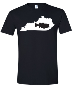 Short Sleeve T-Shirt Kentucky Black Large Mouth Bass Vibrant Design High Quality Tight Knit Ring Spun Low Maintenance Cotton Printed With The Newest Available Color Transfer Technology