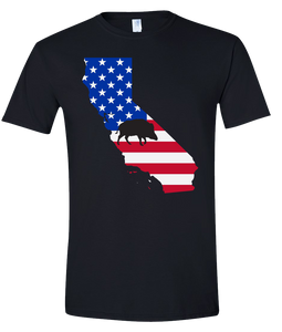 Short Sleeve T-Shirt California Black Wild Hog Vibrant Design High Quality Tight Knit Ring Spun Low Maintenance Cotton Printed With The Newest Available Color Transfer Technology