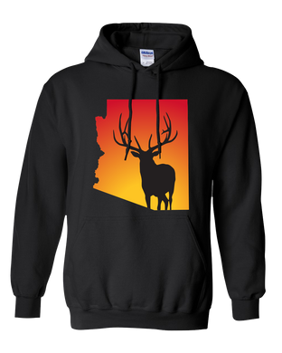 Pullover Hooded Sweatshirt Arizona Black Elk Vibrant Design High Quality Tight Knit Ring Spun Low Maintenance Cotton Printed With The Newest Available Color Transfer Technology