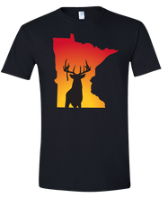 Load image into Gallery viewer, Short Sleeve T-Shirt Minnesota Black Whitetail Deer Vibrant Design High Quality Tight Knit Ring Spun Low Maintenance Cotton Printed With The Newest Available Color Transfer Technology