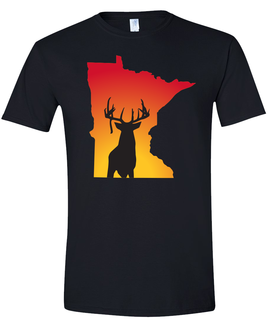 Short Sleeve T-Shirt Minnesota Black Whitetail Deer Vibrant Design High Quality Tight Knit Ring Spun Low Maintenance Cotton Printed With The Newest Available Color Transfer Technology