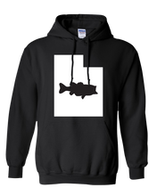Load image into Gallery viewer, Pullover Hooded Sweatshirt Utah Black Large Mouth Bass Vibrant Design High Quality Tight Knit Ring Spun Low Maintenance Cotton Printed With The Newest Available Color Transfer Technology
