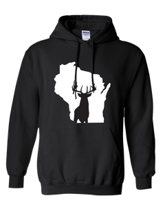 Pullover Hooded Sweatshirt Wisconsin Black Whitetail Deer Vibrant Design High Quality Tight Knit Ring Spun Low Maintenance Cotton Printed With The Newest Available Color Transfer Technology