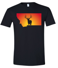 Load image into Gallery viewer, Short Sleeve T-Shirt Montana Black Elk Vibrant Design High Quality Tight Knit Ring Spun Low Maintenance Cotton Printed With The Newest Available Color Transfer Technology