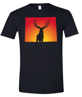 Short Sleeve T-Shirt Wyoming Black Mule Deer Vibrant Design High Quality Tight Knit Ring Spun Low Maintenance Cotton Printed With The Newest Available Color Transfer Technology