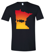 Load image into Gallery viewer, Short Sleeve T-Shirt Minnesota Black Large Mouth Bass Vibrant Design High Quality Tight Knit Ring Spun Low Maintenance Cotton Printed With The Newest Available Color Transfer Technology