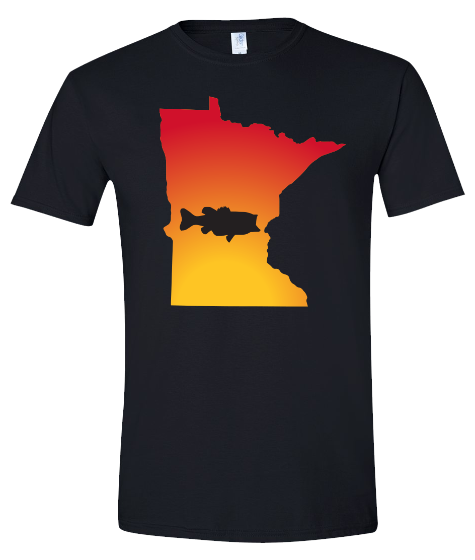 Short Sleeve T-Shirt Minnesota Black Large Mouth Bass Vibrant Design High Quality Tight Knit Ring Spun Low Maintenance Cotton Printed With The Newest Available Color Transfer Technology