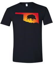 Load image into Gallery viewer, Short Sleeve T-Shirt Oklahoma Black Wild Hog Vibrant Design High Quality Tight Knit Ring Spun Low Maintenance Cotton Printed With The Newest Available Color Transfer Technology