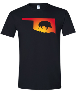 Short Sleeve T-Shirt Oklahoma Black Wild Hog Vibrant Design High Quality Tight Knit Ring Spun Low Maintenance Cotton Printed With The Newest Available Color Transfer Technology