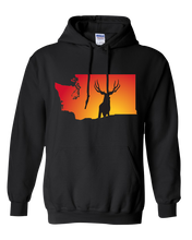 Load image into Gallery viewer, Pullover Hooded Sweatshirt Washington Black Mule Deer Vibrant Design High Quality Tight Knit Ring Spun Low Maintenance Cotton Printed With The Newest Available Color Transfer Technology