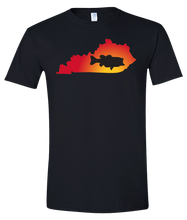 Load image into Gallery viewer, Short Sleeve T-Shirt Kentucky Black Large Mouth Bass Vibrant Design High Quality Tight Knit Ring Spun Low Maintenance Cotton Printed With The Newest Available Color Transfer Technology