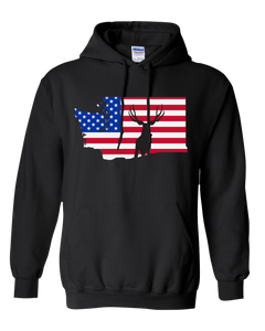 Pullover Hooded Sweatshirt Washington Black Mule Deer Vibrant Design High Quality Tight Knit Ring Spun Low Maintenance Cotton Printed With The Newest Available Color Transfer Technology