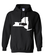 Load image into Gallery viewer, Pullover Hooded Sweatshirt New York Black Large Mouth Bass Vibrant Design High Quality Tight Knit Ring Spun Low Maintenance Cotton Printed With The Newest Available Color Transfer Technology