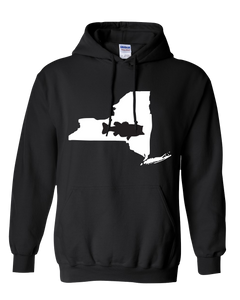 Pullover Hooded Sweatshirt New York Black Large Mouth Bass Vibrant Design High Quality Tight Knit Ring Spun Low Maintenance Cotton Printed With The Newest Available Color Transfer Technology