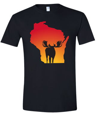 Short Sleeve T-Shirt Wisconsin Black Moose Vibrant Design High Quality Tight Knit Ring Spun Low Maintenance Cotton Printed With The Newest Available Color Transfer Technology