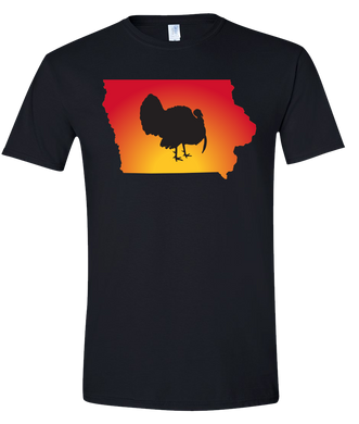 Short Sleeve T-Shirt Iowa Black Turkey Vibrant Design High Quality Tight Knit Ring Spun Low Maintenance Cotton Printed With The Newest Available Color Transfer Technology