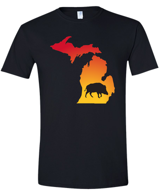 Short Sleeve T-Shirt Michigan Black Wild Hog Vibrant Design High Quality Tight Knit Ring Spun Low Maintenance Cotton Printed With The Newest Available Color Transfer Technology