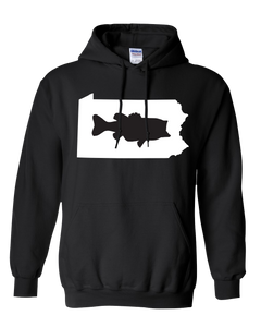 Pullover Hooded Sweatshirt Pennsylvania Black Large Mouth Bass Vibrant Design High Quality Tight Knit Ring Spun Low Maintenance Cotton Printed With The Newest Available Color Transfer Technology