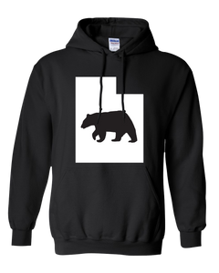 Pullover Hooded Sweatshirt Utah Black Black Bear Vibrant Design High Quality Tight Knit Ring Spun Low Maintenance Cotton Printed With The Newest Available Color Transfer Technology
