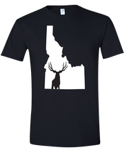 Load image into Gallery viewer, Short Sleeve T-Shirt Idaho Black Mule Deer Vibrant Design High Quality Tight Knit Ring Spun Low Maintenance Cotton Printed With The Newest Available Color Transfer Technology