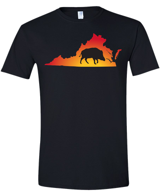 Short Sleeve T-Shirt Virginia Black Wild Hog Vibrant Design High Quality Tight Knit Ring Spun Low Maintenance Cotton Printed With The Newest Available Color Transfer Technology