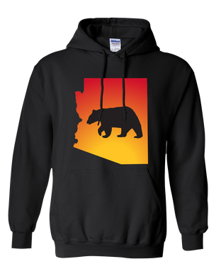 Pullover Hooded Sweatshirt Arizona Black Black Bear Vibrant Design High Quality Tight Knit Ring Spun Low Maintenance Cotton Printed With The Newest Available Color Transfer Technology