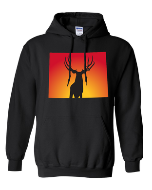 Pullover Hooded Sweatshirt Wyoming Black Mule Deer Vibrant Design High Quality Tight Knit Ring Spun Low Maintenance Cotton Printed With The Newest Available Color Transfer Technology