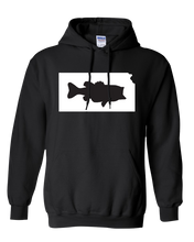 Load image into Gallery viewer, Pullover Hooded Sweatshirt Kansas Black Large Mouth Bass Vibrant Design High Quality Tight Knit Ring Spun Low Maintenance Cotton Printed With The Newest Available Color Transfer Technology