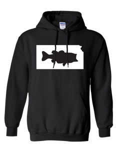 Pullover Hooded Sweatshirt Kansas Black Large Mouth Bass Vibrant Design High Quality Tight Knit Ring Spun Low Maintenance Cotton Printed With The Newest Available Color Transfer Technology