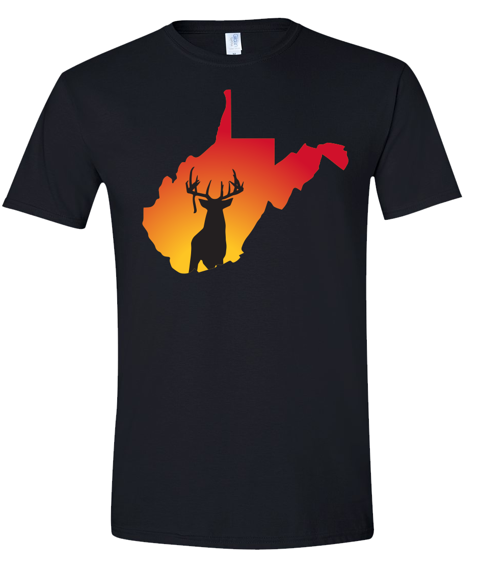 Short Sleeve T-Shirt West Virginia Black Whitetail Deer Vibrant Design High Quality Tight Knit Ring Spun Low Maintenance Cotton Printed With The Newest Available Color Transfer Technology