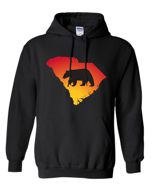Pullover Hooded Sweatshirt South Carolina Black Black Bear Vibrant Design High Quality Tight Knit Ring Spun Low Maintenance Cotton Printed With The Newest Available Color Transfer Technology