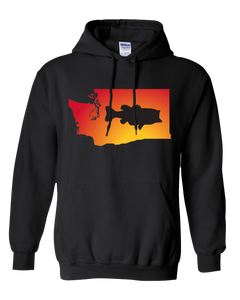 Pullover Hooded Sweatshirt Washington Black Large Mouth Bass Vibrant Design High Quality Tight Knit Ring Spun Low Maintenance Cotton Printed With The Newest Available Color Transfer Technology