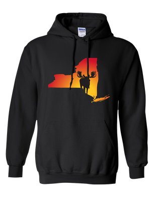Pullover Hooded Sweatshirt New York Black Moose Vibrant Design High Quality Tight Knit Ring Spun Low Maintenance Cotton Printed With The Newest Available Color Transfer Technology