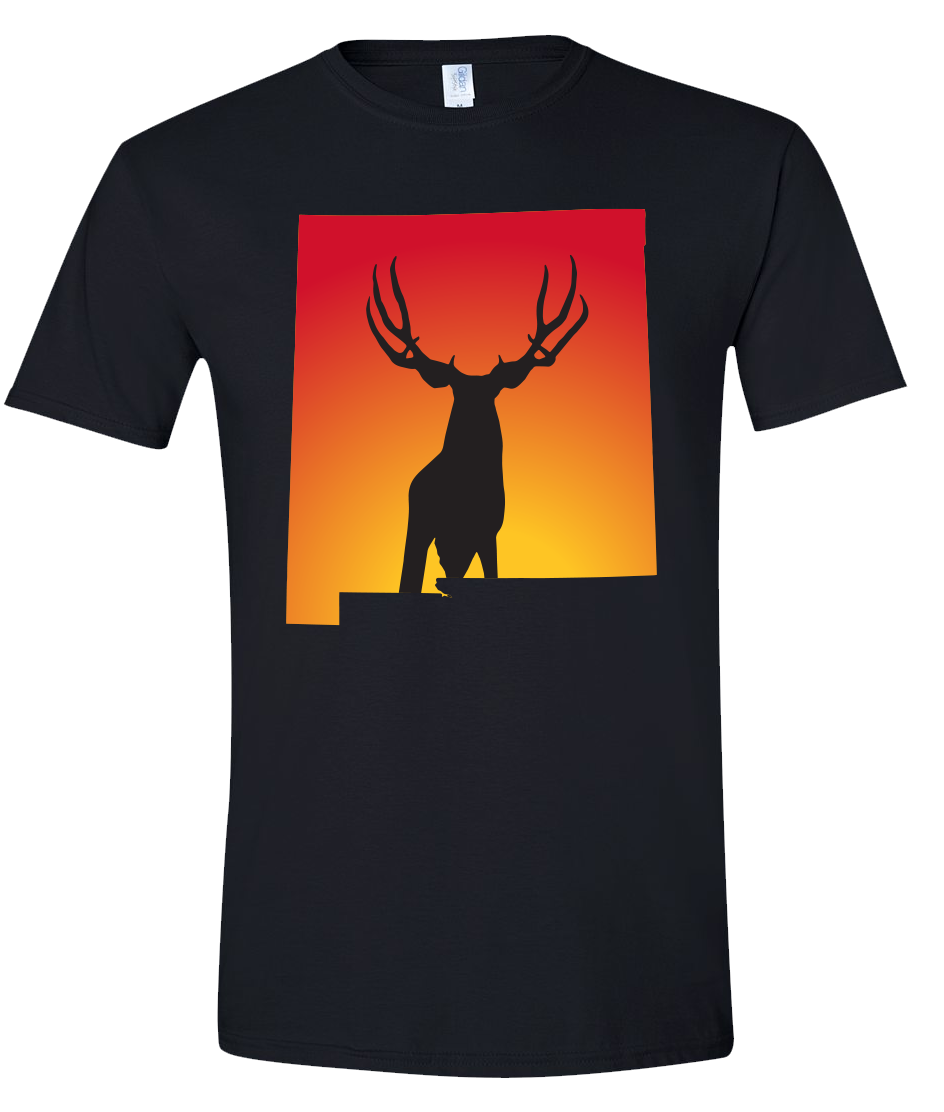 Short Sleeve T-Shirt New Mexico Black Mule Deer Vibrant Design High Quality Tight Knit Ring Spun Low Maintenance Cotton Printed With The Newest Available Color Transfer Technology
