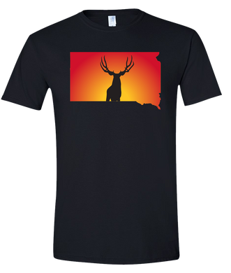Short Sleeve T-Shirt South Dakota Black Mule Deer Vibrant Design High Quality Tight Knit Ring Spun Low Maintenance Cotton Printed With The Newest Available Color Transfer Technology