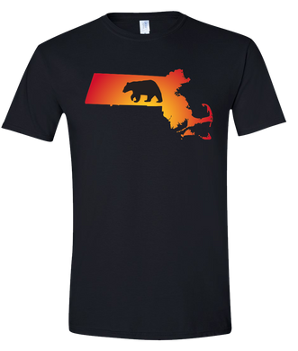 Short Sleeve T-Shirt Massachusetts Black Black Bear Vibrant Design High Quality Tight Knit Ring Spun Low Maintenance Cotton Printed With The Newest Available Color Transfer Technology